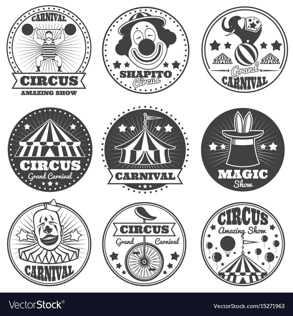 Vintage magic circus labels holiday show carnival vector image