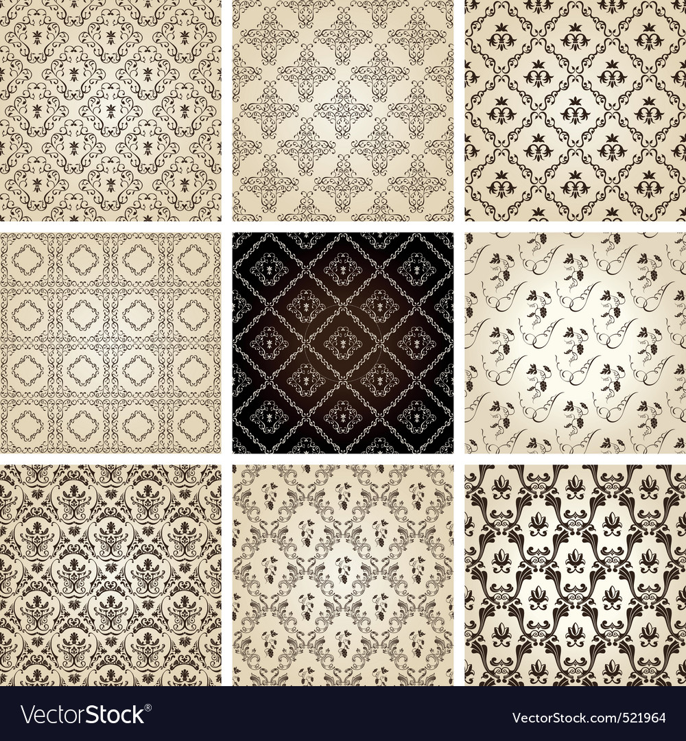 Seamless vintage backgrounds set brown baroque pat vector image