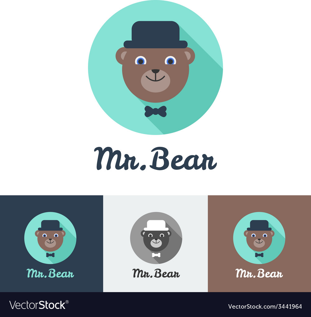 Flat modern minimalistic toy bear logo vector image