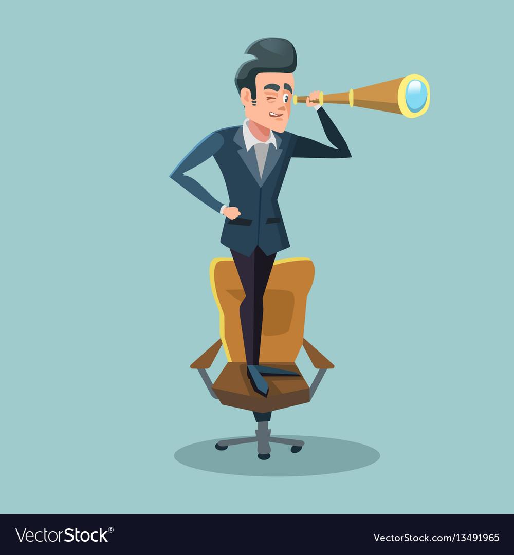Successful businessman looking through spyglass vector image