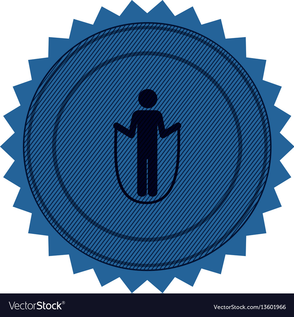 Blue circular seal with training in skipping rope vector image