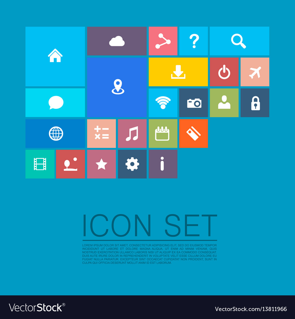 Flat set of icons vector image