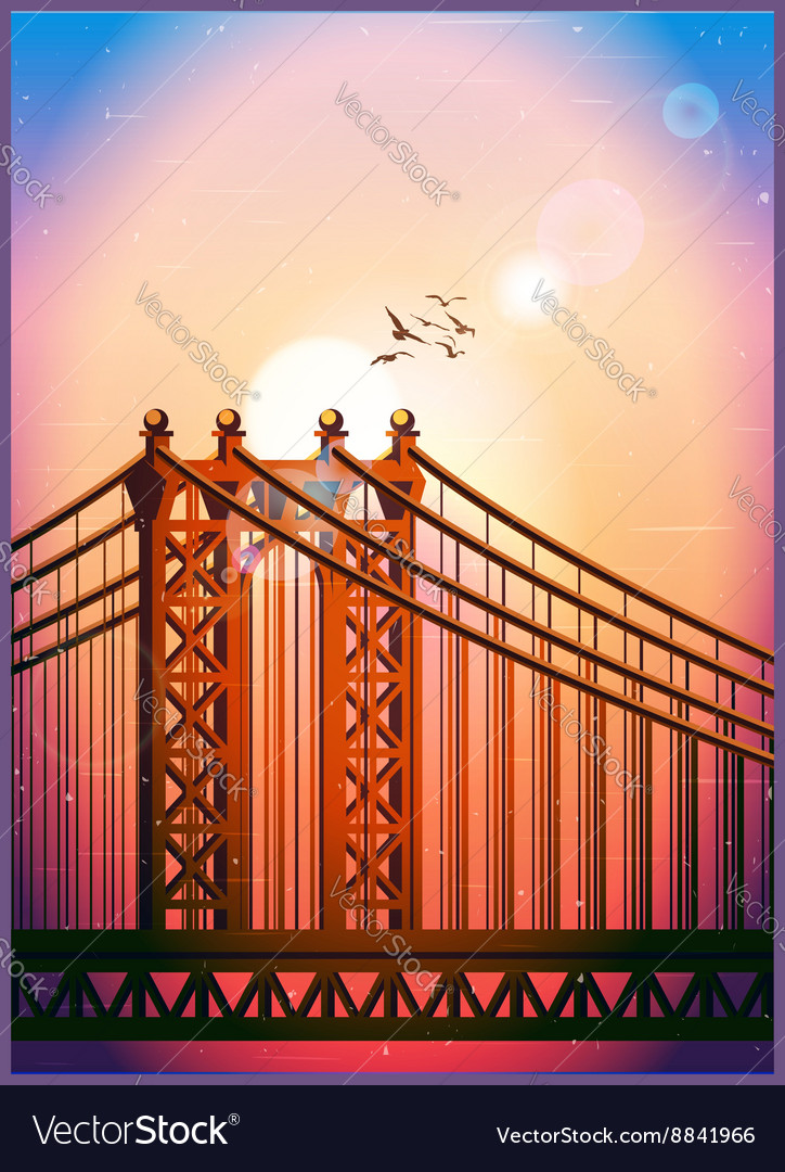 Large cable stayed bridge vector image