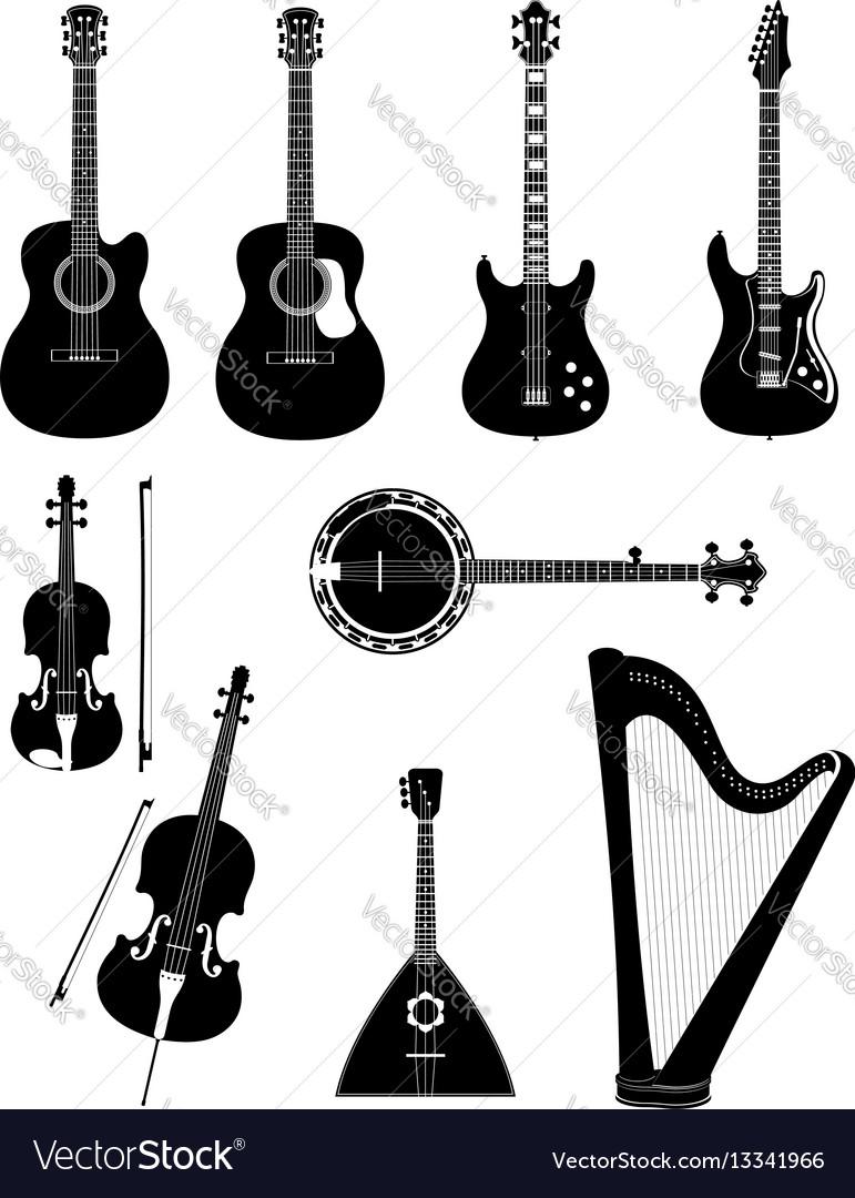 Stringed musical instruments black outline vector image