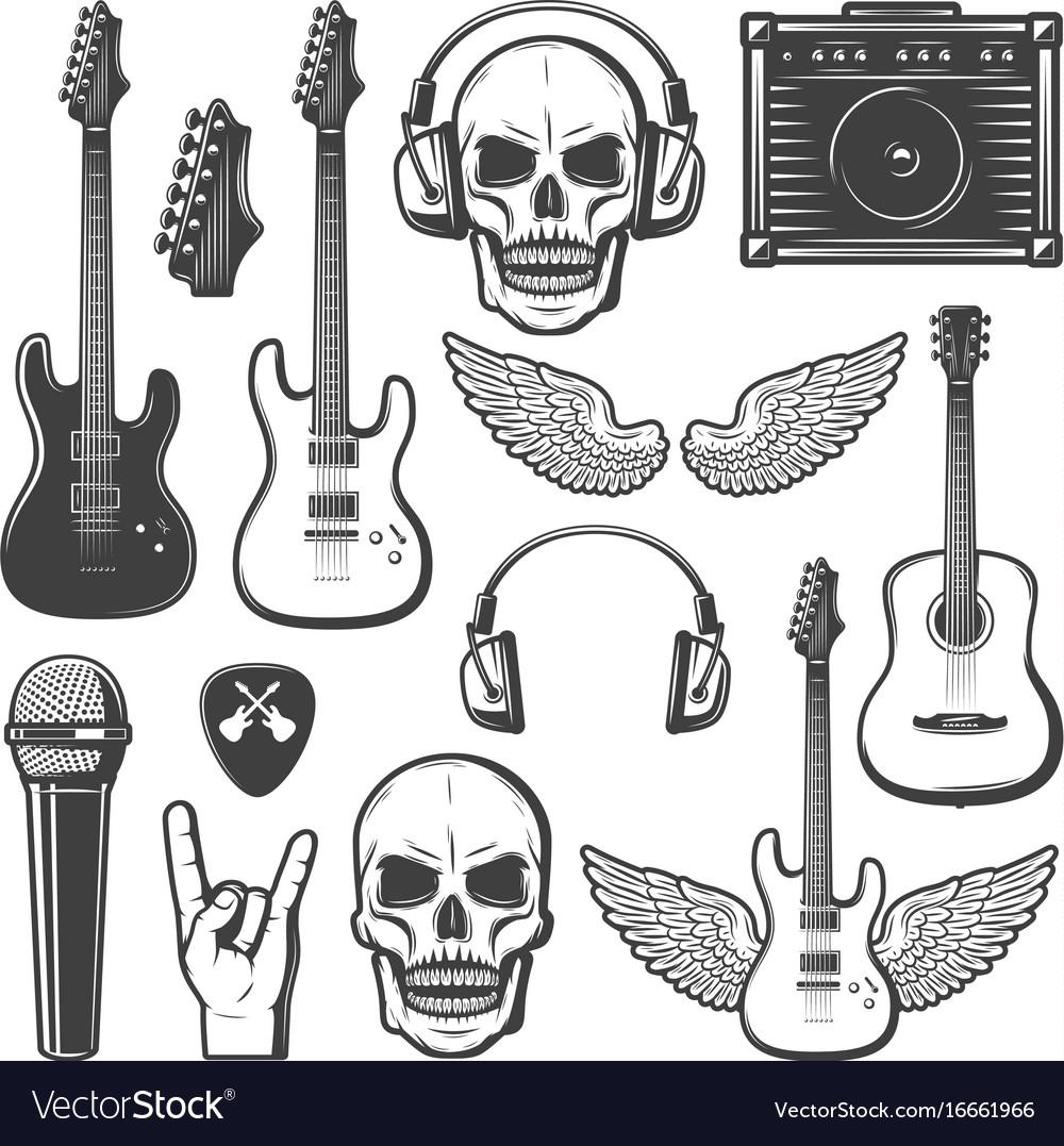 Vintage rock music elements set vector image