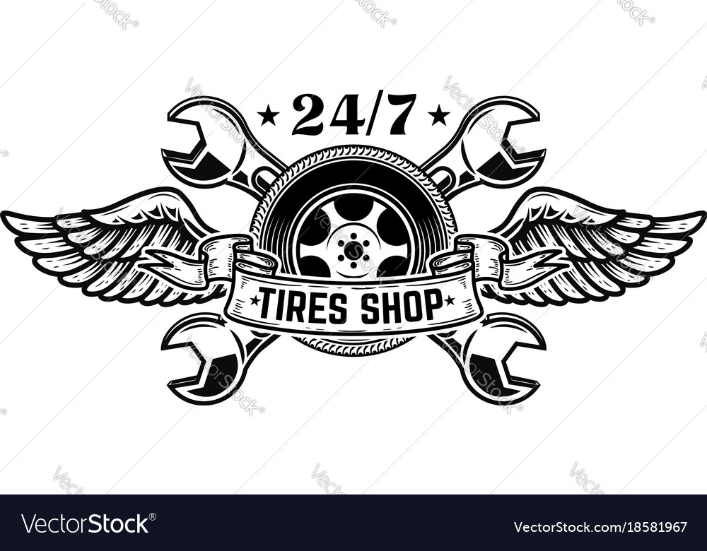 Tire shop emblem template car wheel with wings vector image
