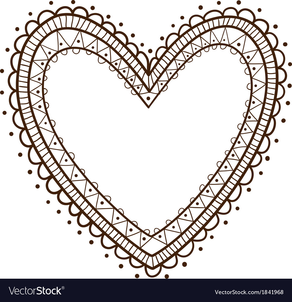 Lace heart frame vector image