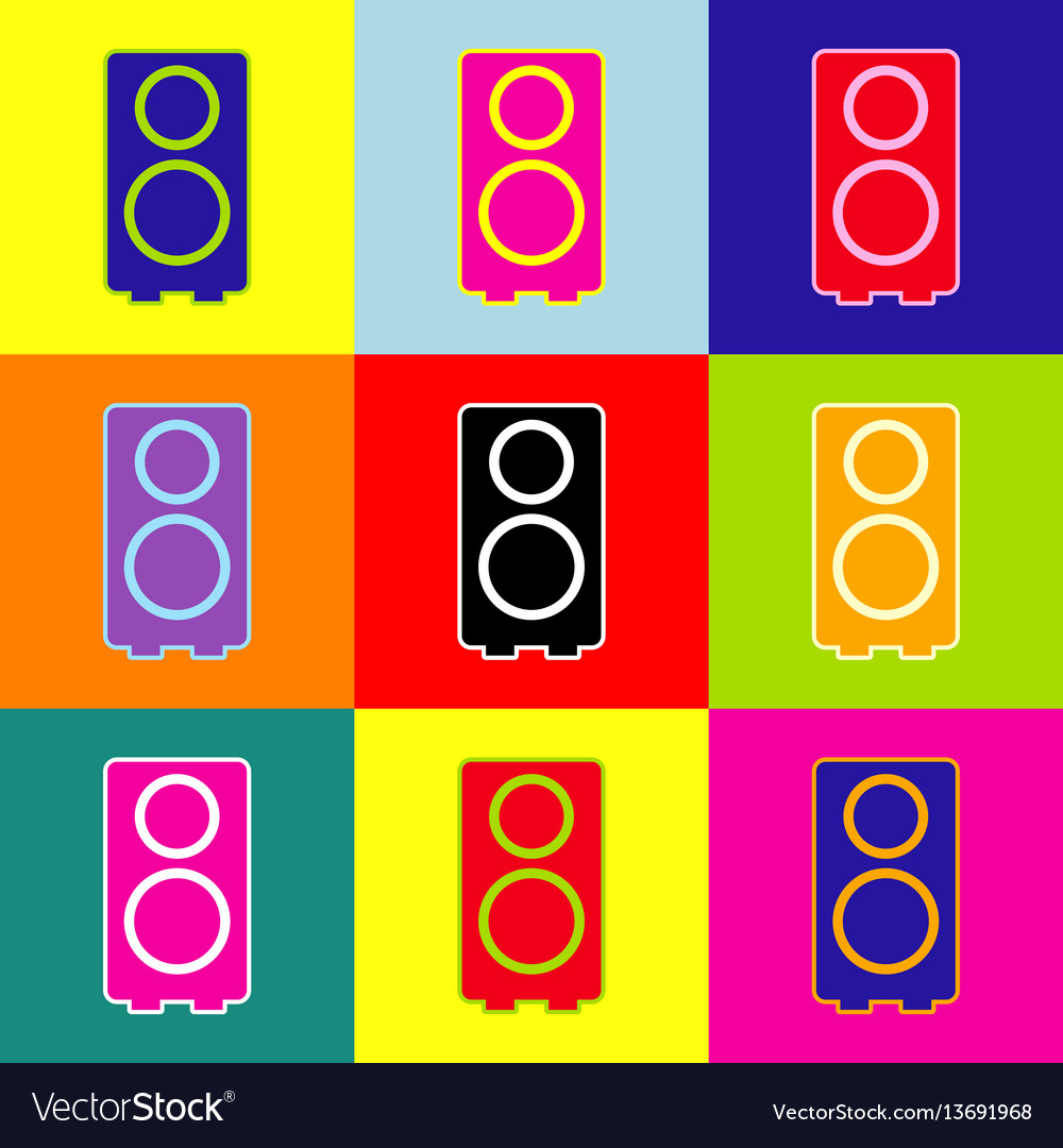 Speaker sign pop-art style vector image