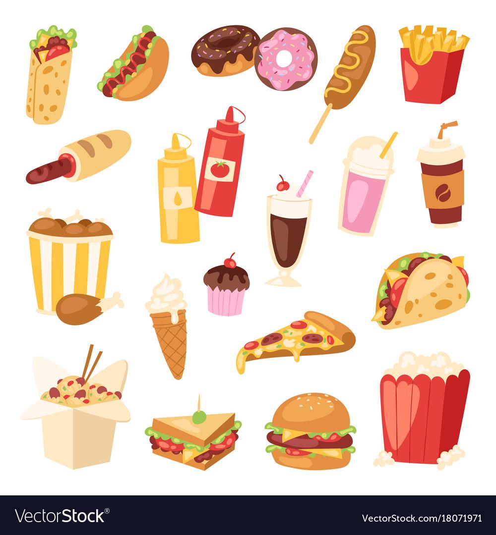 Cartoon fast food unhealthy burger sandwich vector image