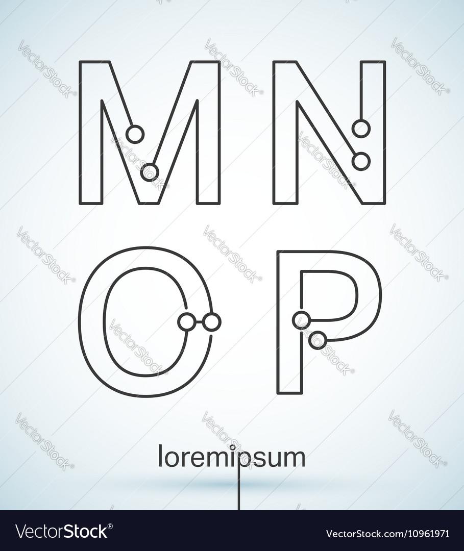 Connection dots font vector image