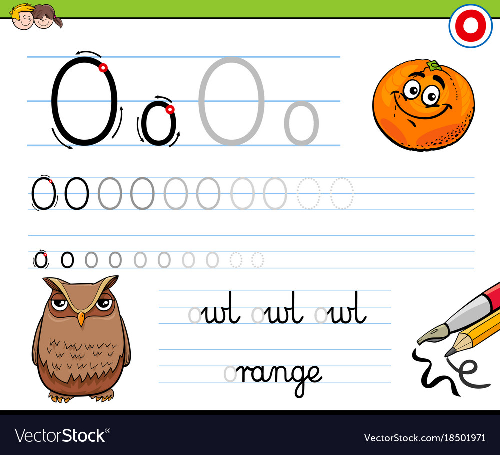 worksheet Letter O Worksheet how to write letter o worksheet for kids vector image