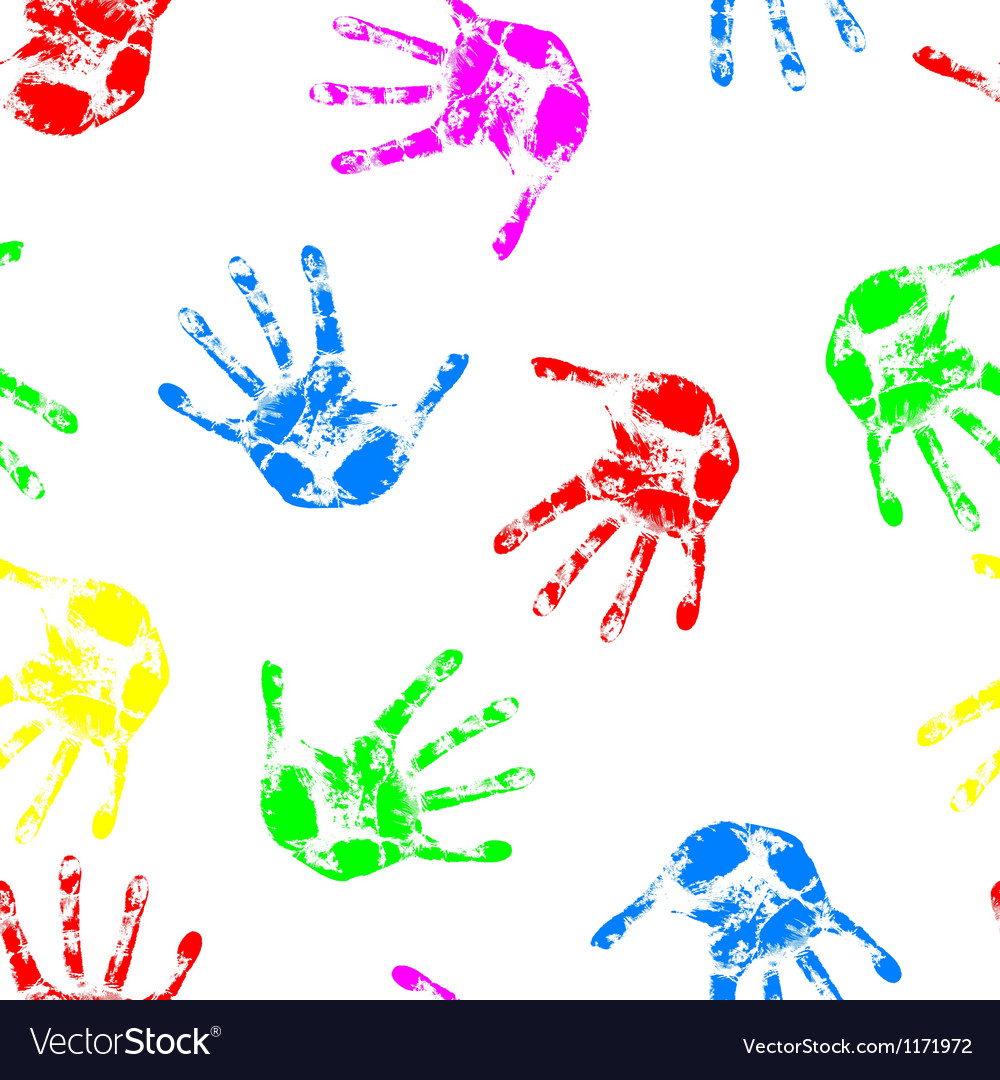 Hand print seamless wallpaper vector image