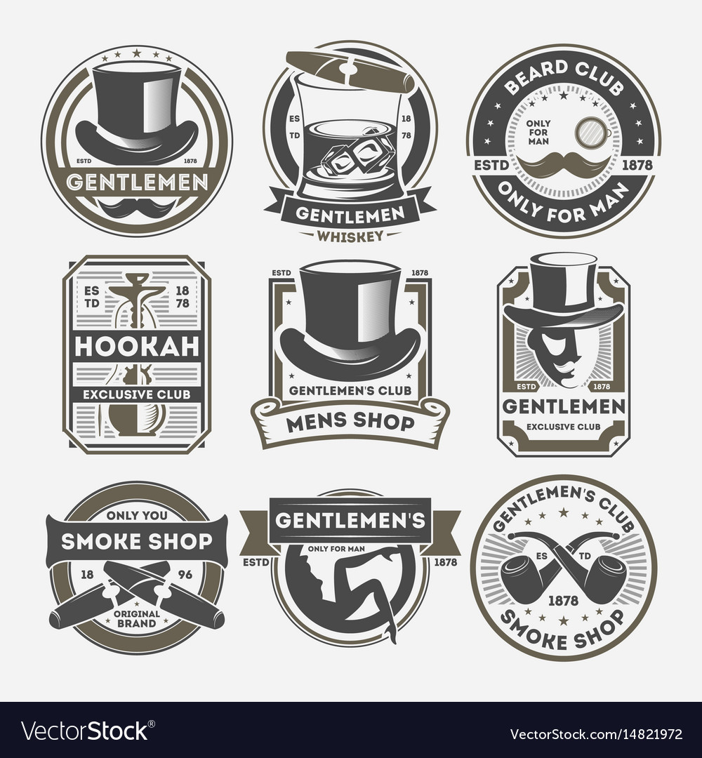 Gentleman vintage isolated label set vector image