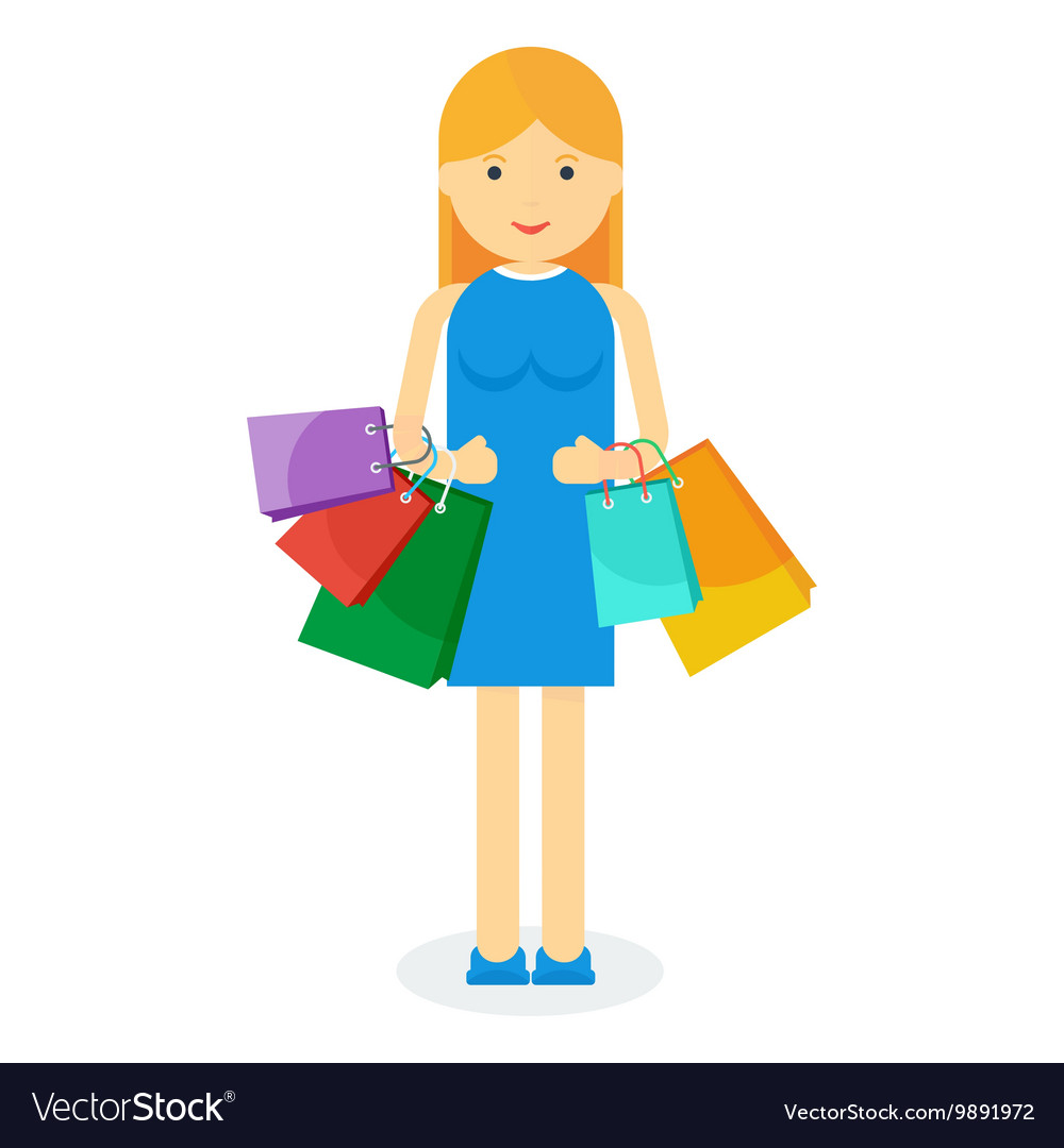 Girl with bag vector image