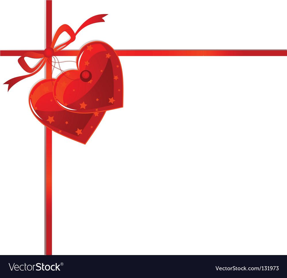 Red ribbon and hearts Vector Image
