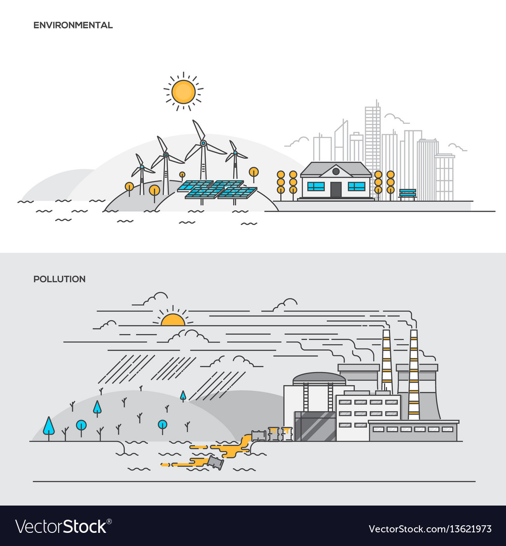 Flat line color concept- environmental and vector image