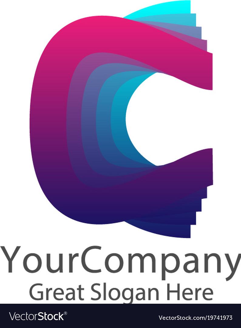 Letter c logo creative colorful symbol concept vector image