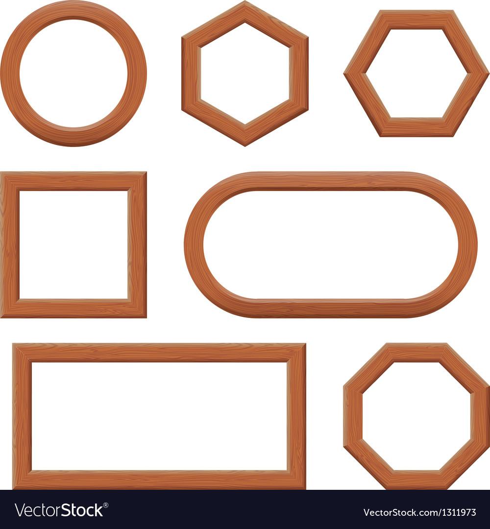 Wood frames set free vector - Wooden Frames Set Vector Image