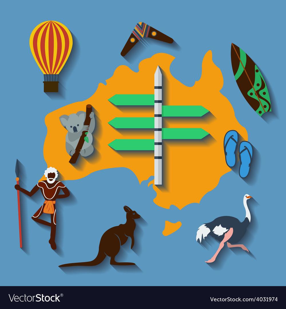Australia travel flat color vector image