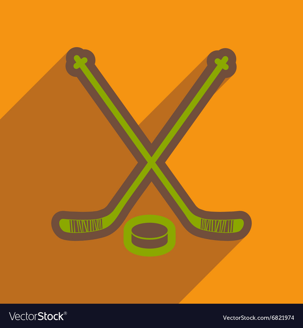 Flat icon with long shadow hockey sticks
