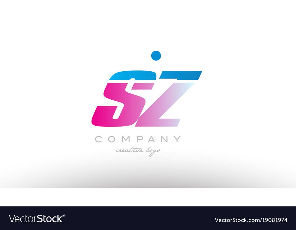 Sz s z alphabet letter combination pink blue bold vector image