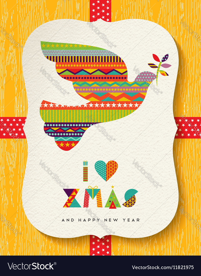 Christmas and new year colorful dove card design vector image