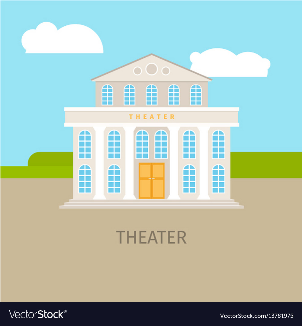 Colored urban theater building vector image