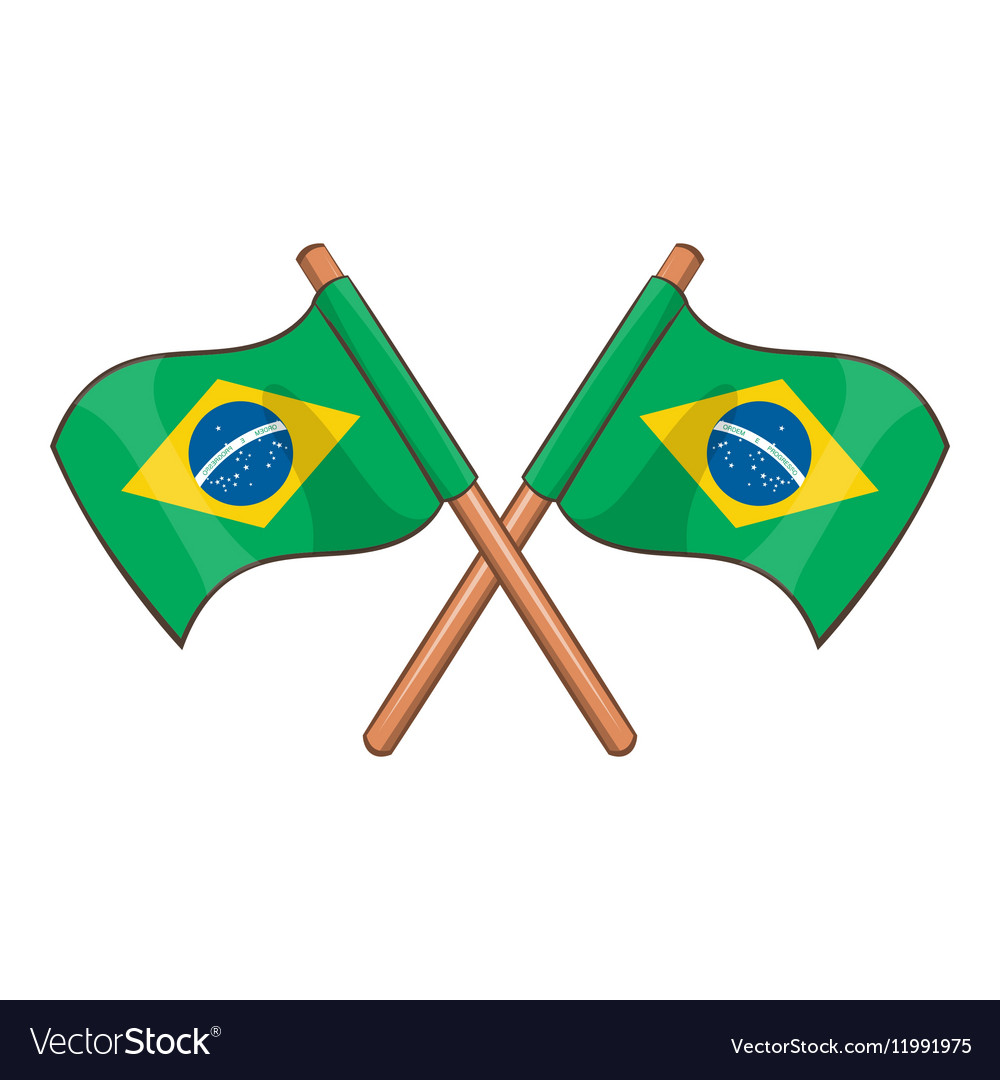 Crossed flags of Brazil icon cartoon style vector image
