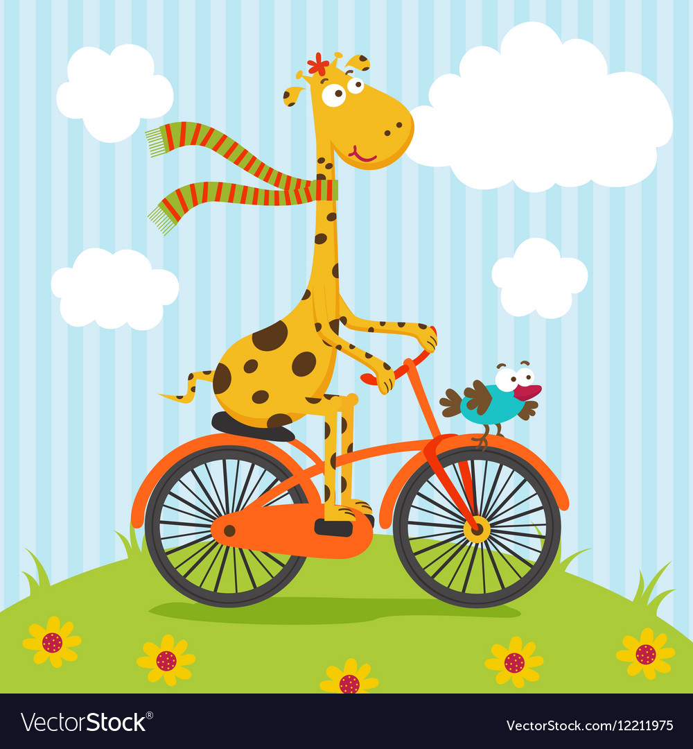 Giraffe bird riding on bicycle vector image