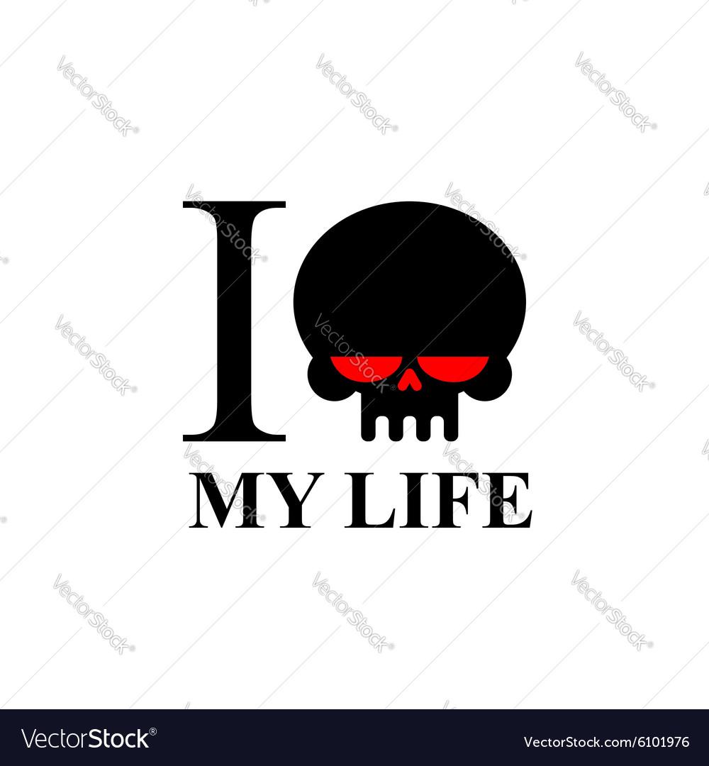 I hate my life Sad black skull with red eyes Logo vector image