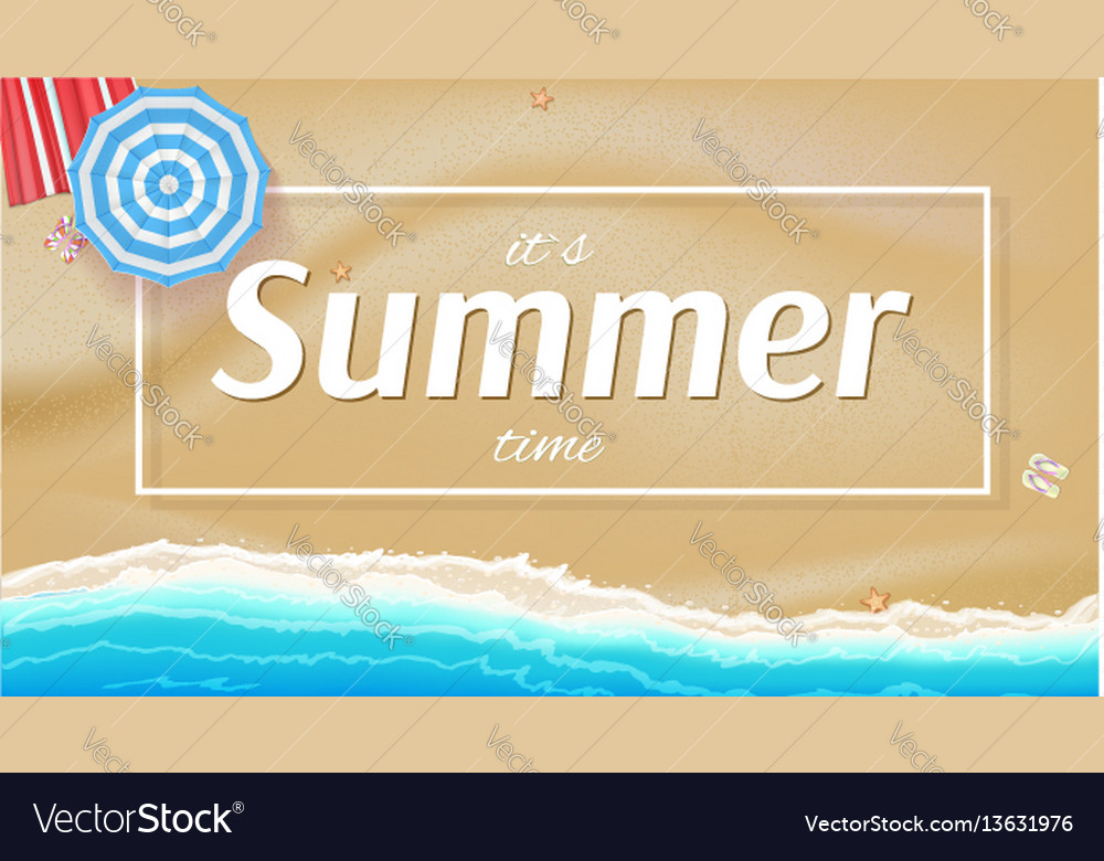 Summer background banner with seashore sun vector image
