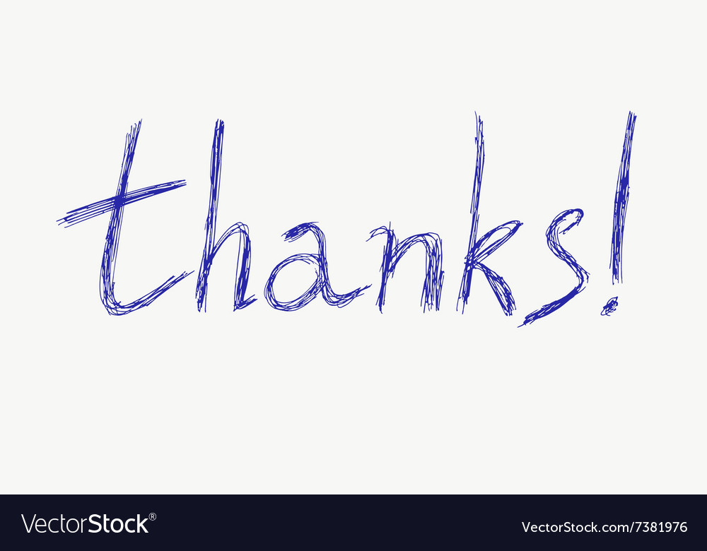 Thanks Hand drawn pen lettering vector image