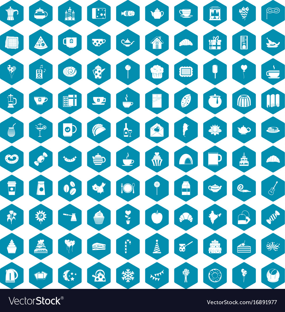 100 tea party icons sapphirine violet vector image