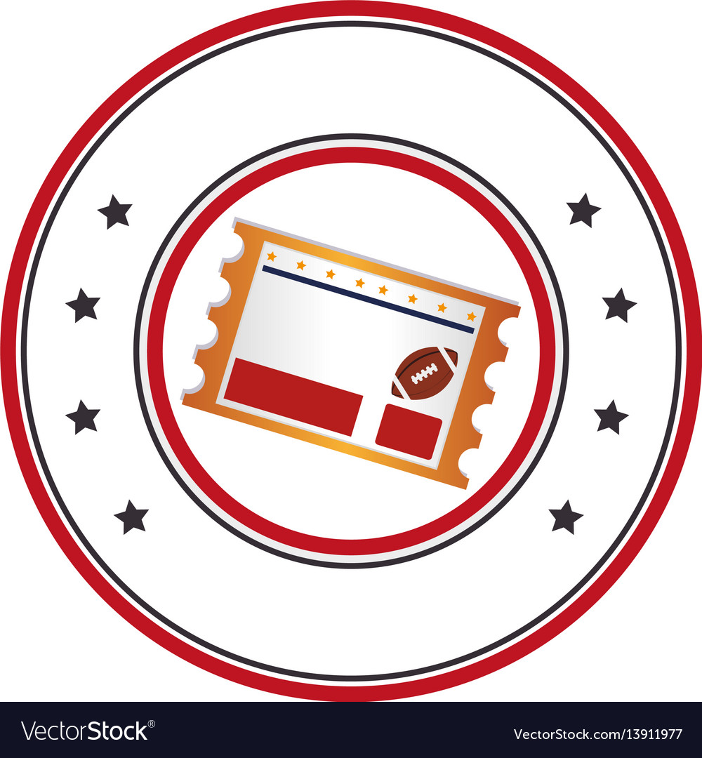 Circular frame with football match ticket vector image