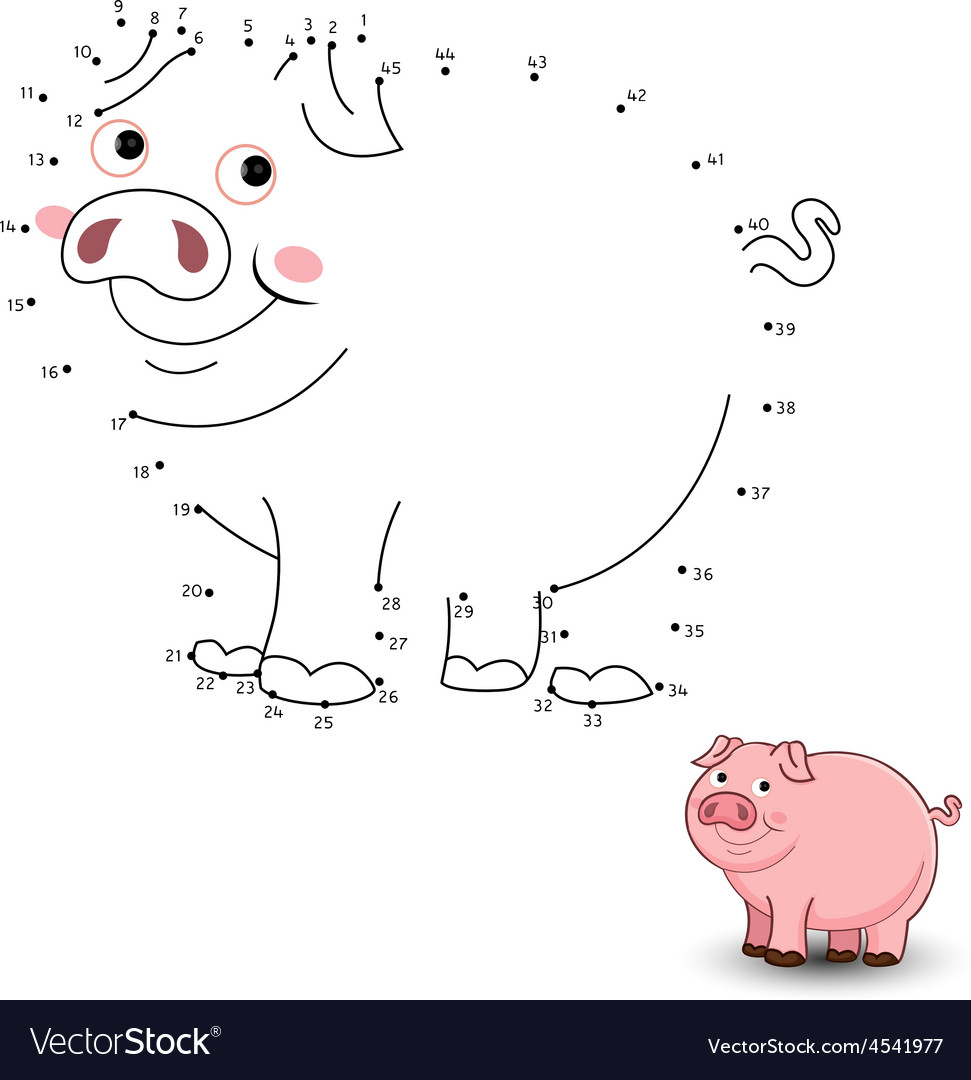 pig connect the dots and color royalty free vector image