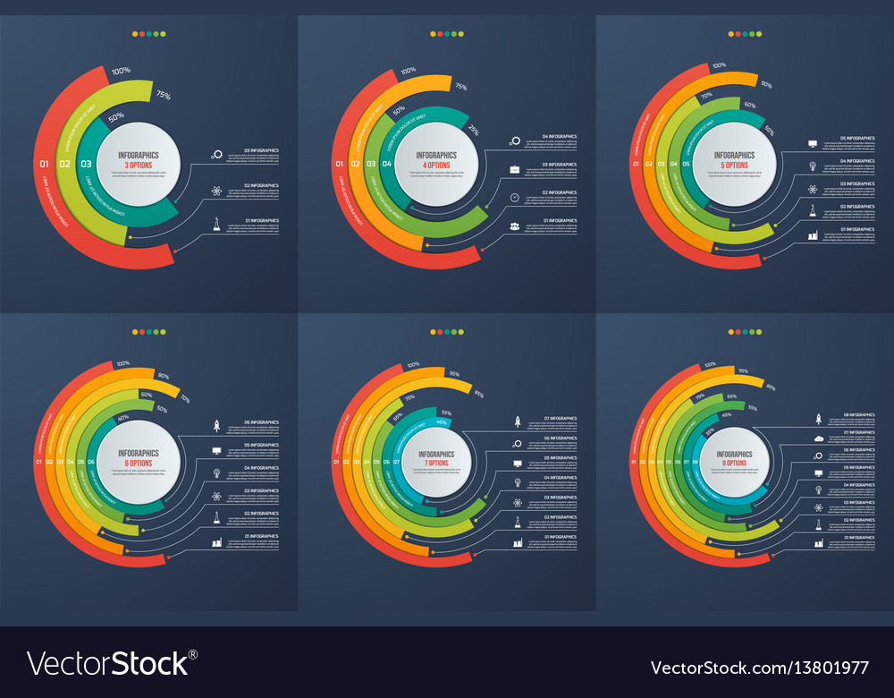 Set of circle informative infographic charts vector image