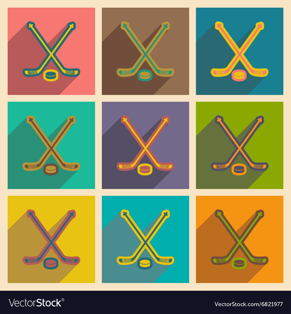 Set of flat icons with long shadow hockey sticks