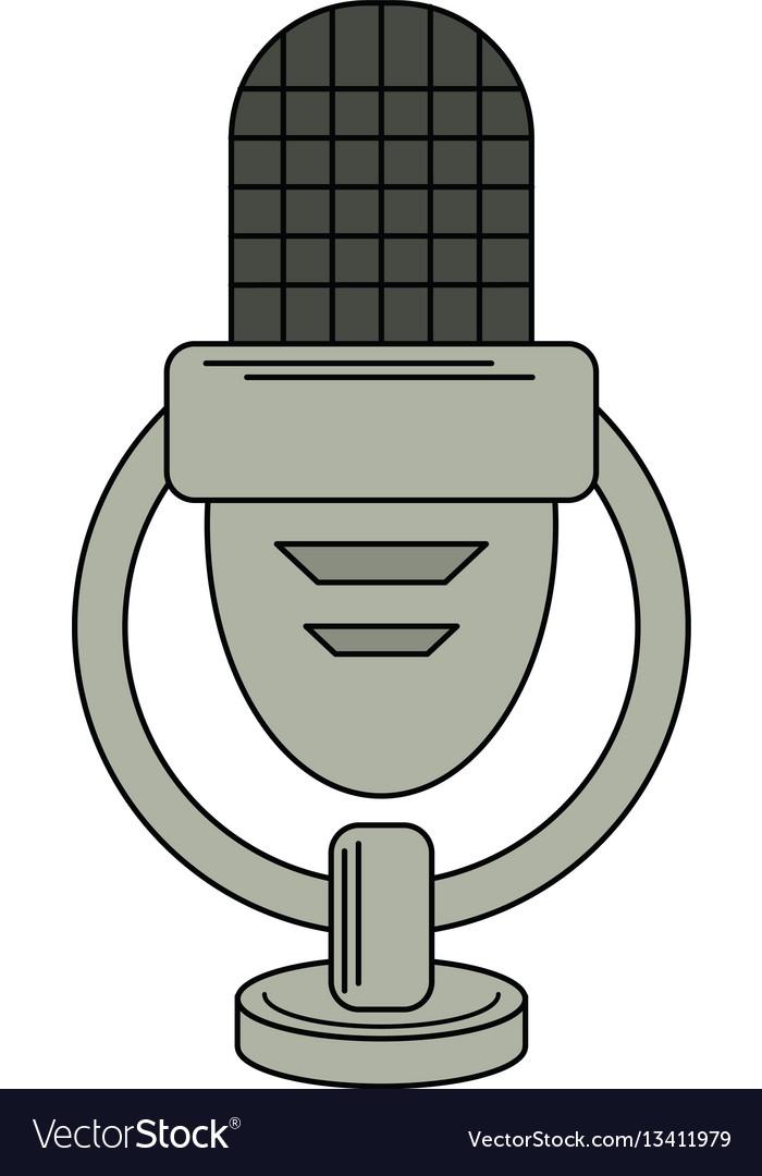 Retro microphone voice icon vector image