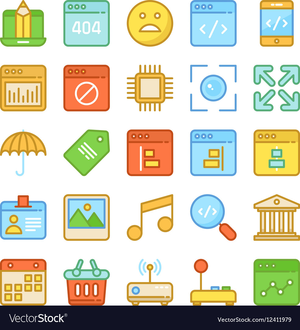 Web Design and Development Colored Icons 7 vector image