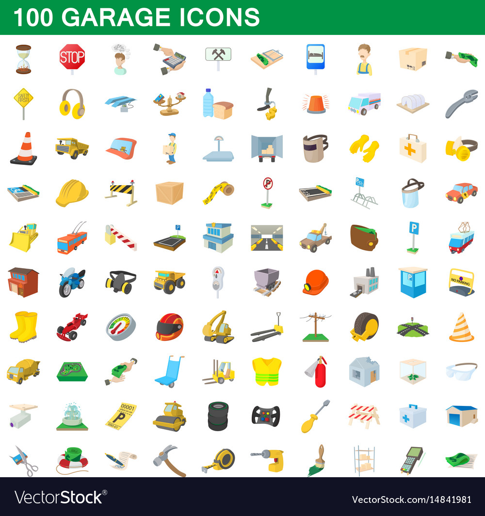 100 garage icons set cartoon style vector image
