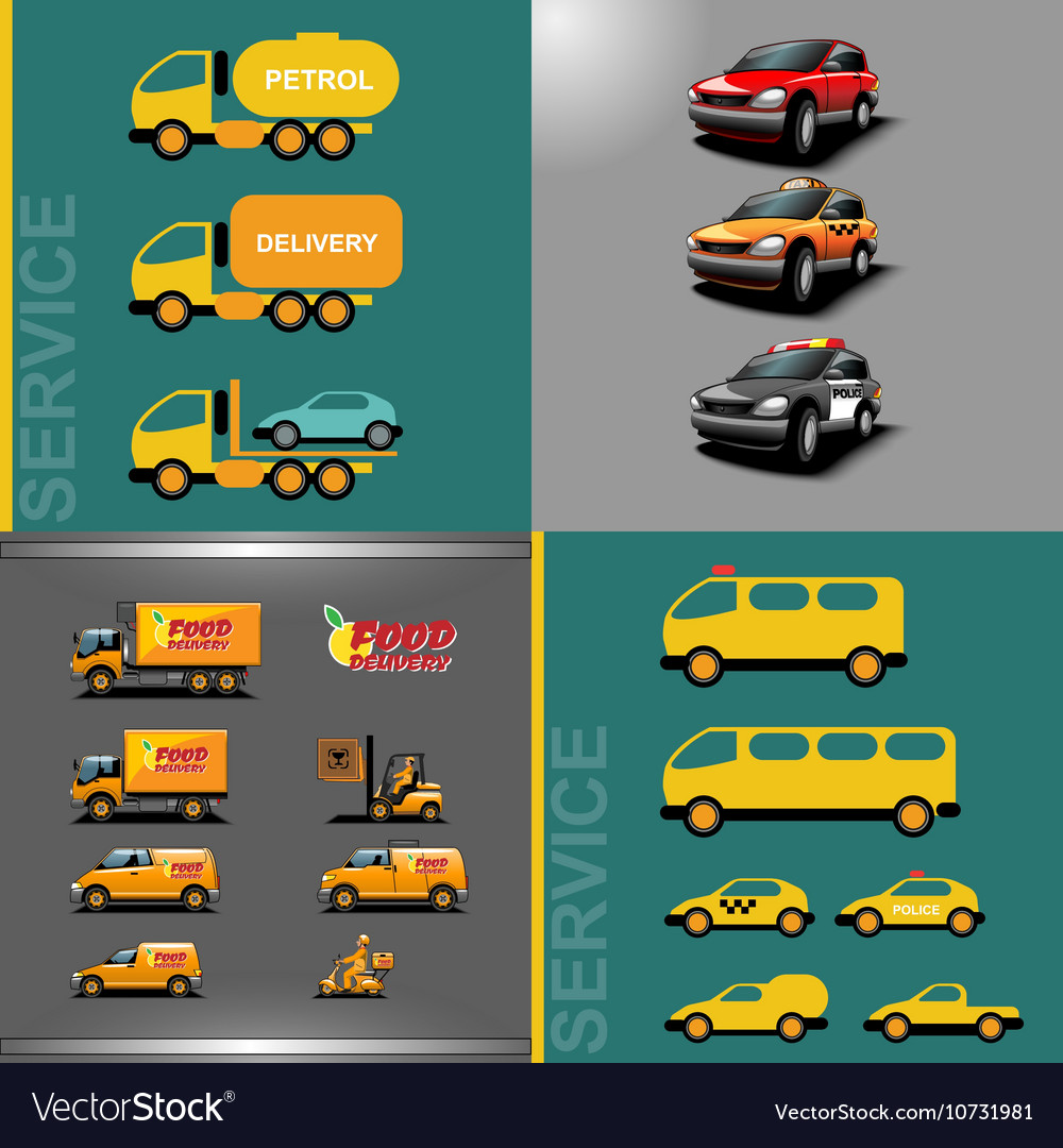 Digital orange and red auto car icon set vector image