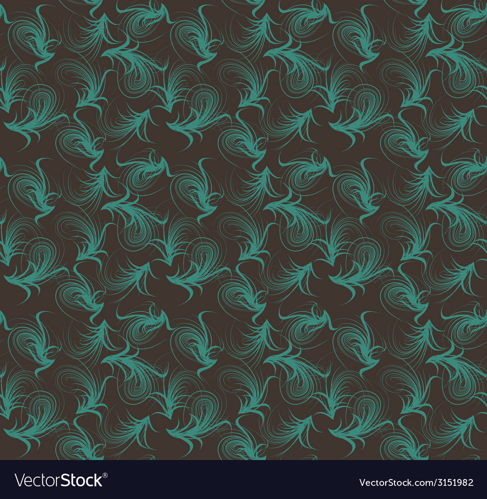 Floral seamless pattern blue and brown colors vector image