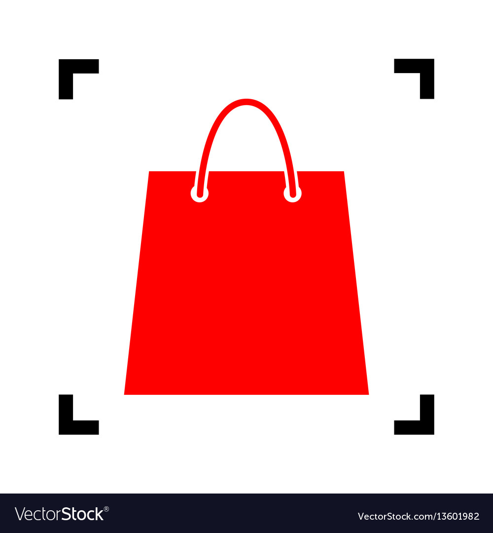 Shopping bag red icon inside vector image