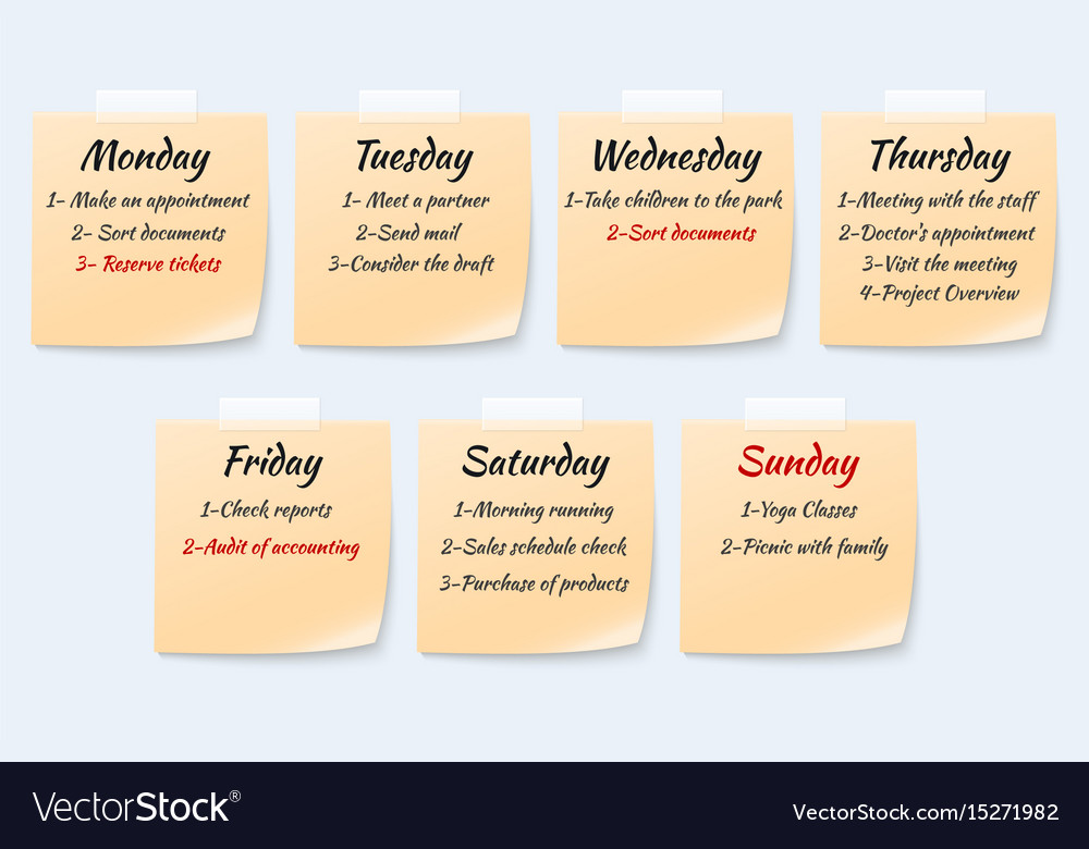 Weekly job plan on sticky notes ugent work event vector image