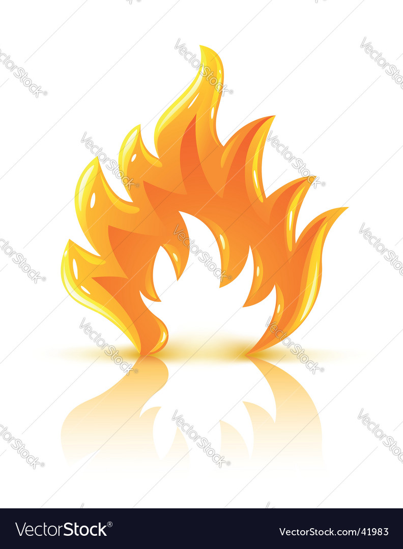 Glossy burning fire flame icon vector image