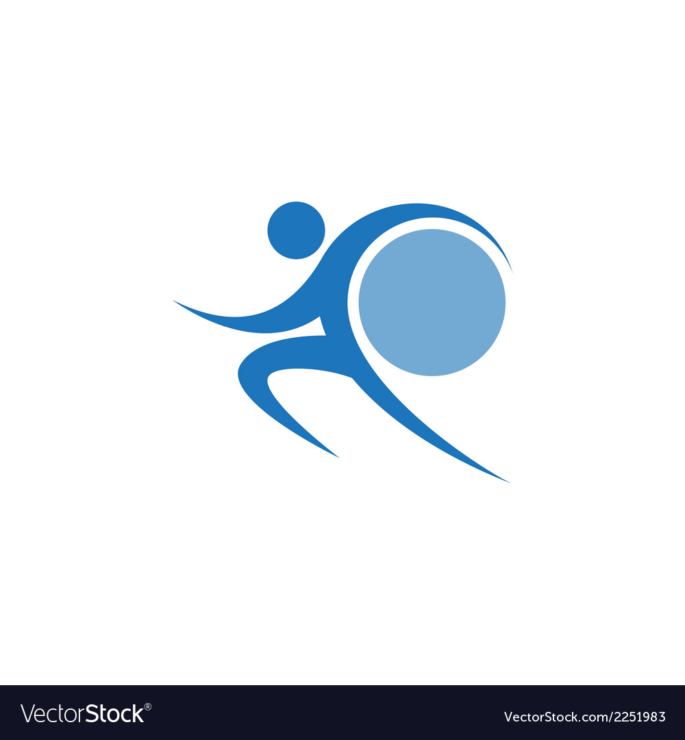 Blue sportman and world vector image
