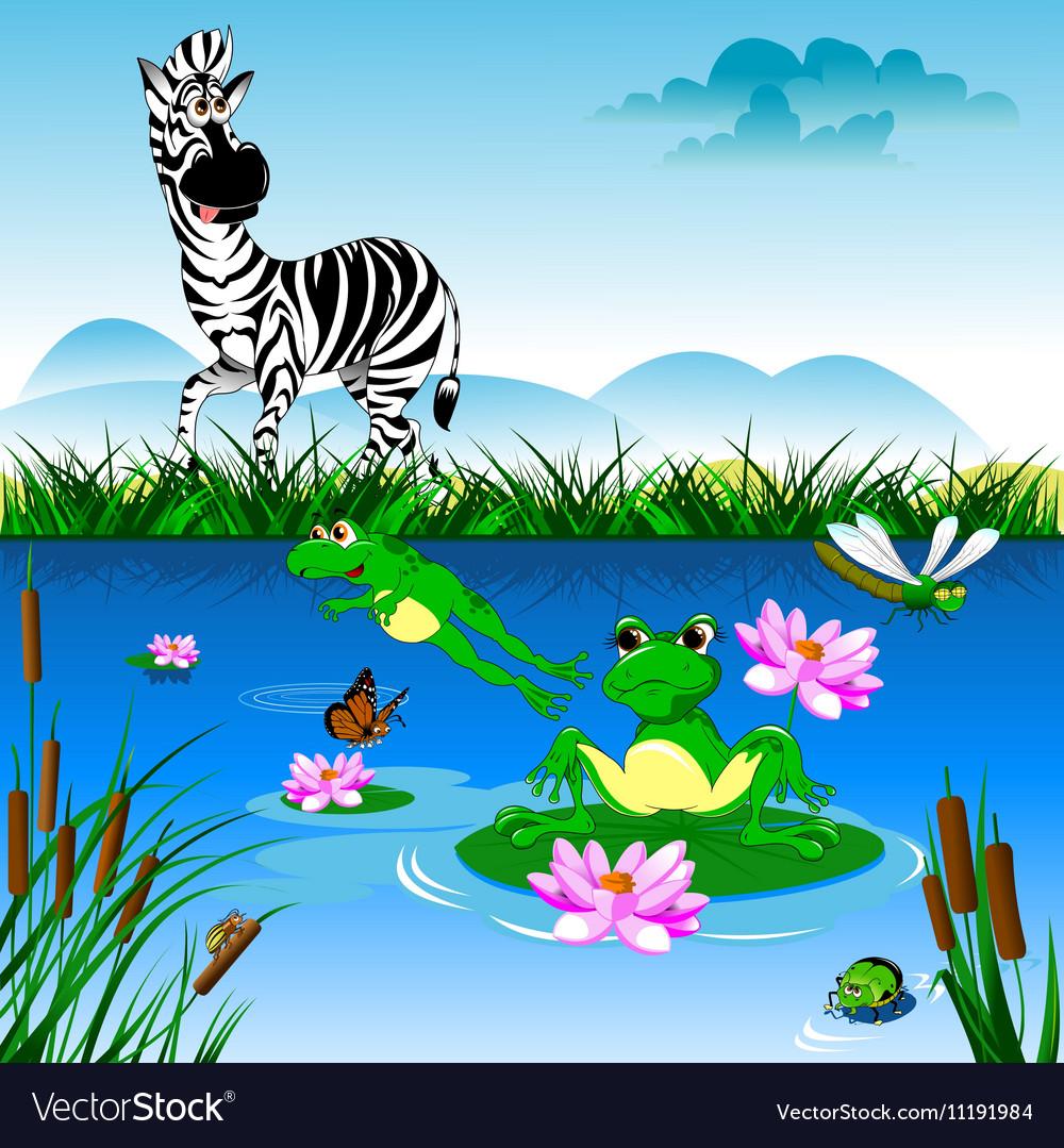 Cartoon zebra in forrest vector image