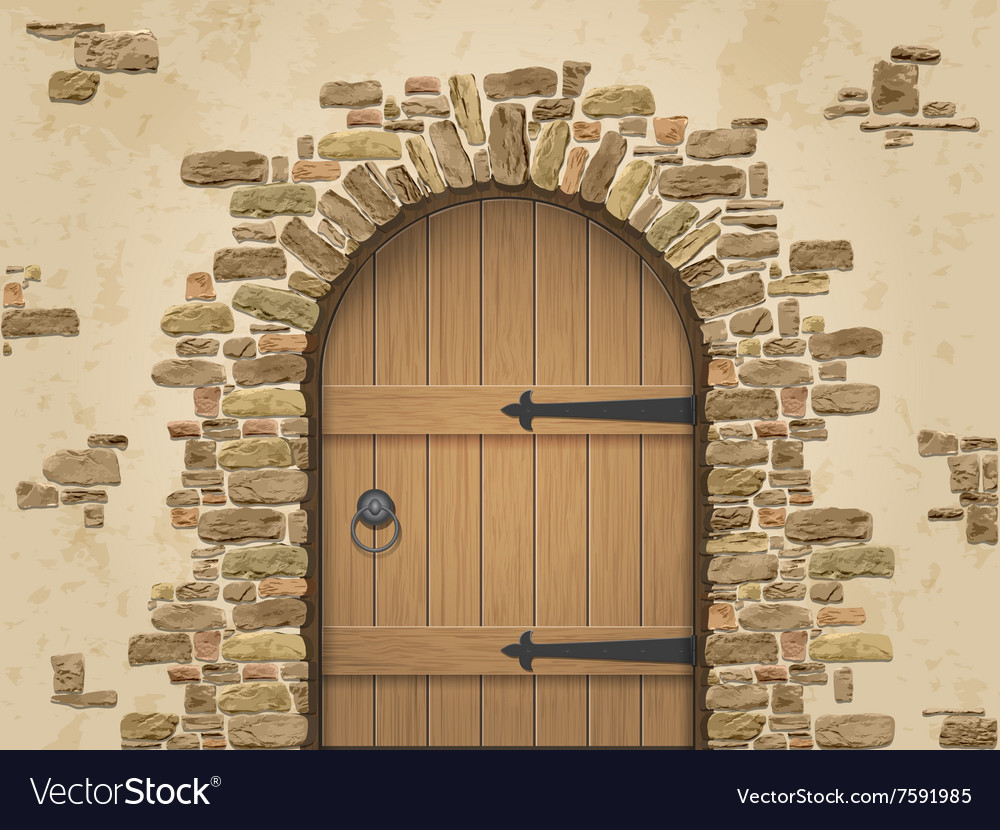 Arch Of Stone With Closed Wooden Door Royalty Free Vector