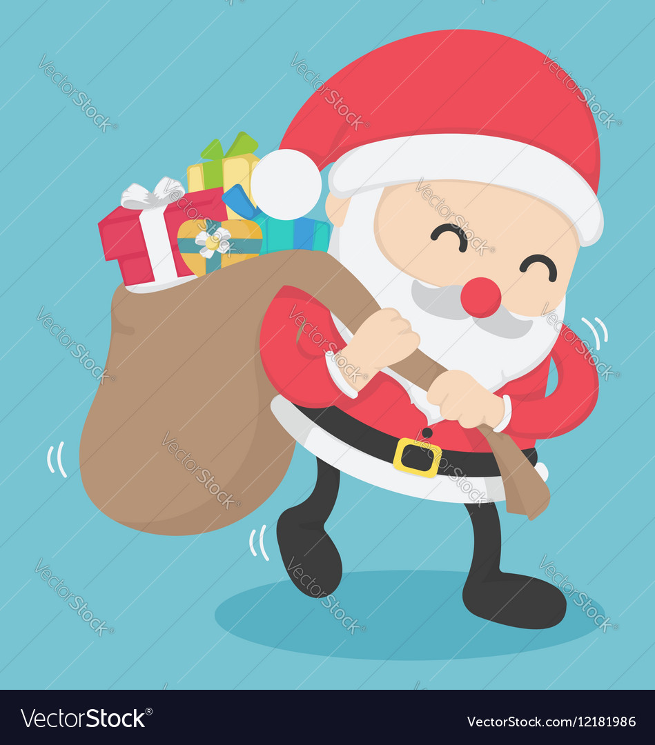 Christmas Santa Claus carrying big bag full vector image