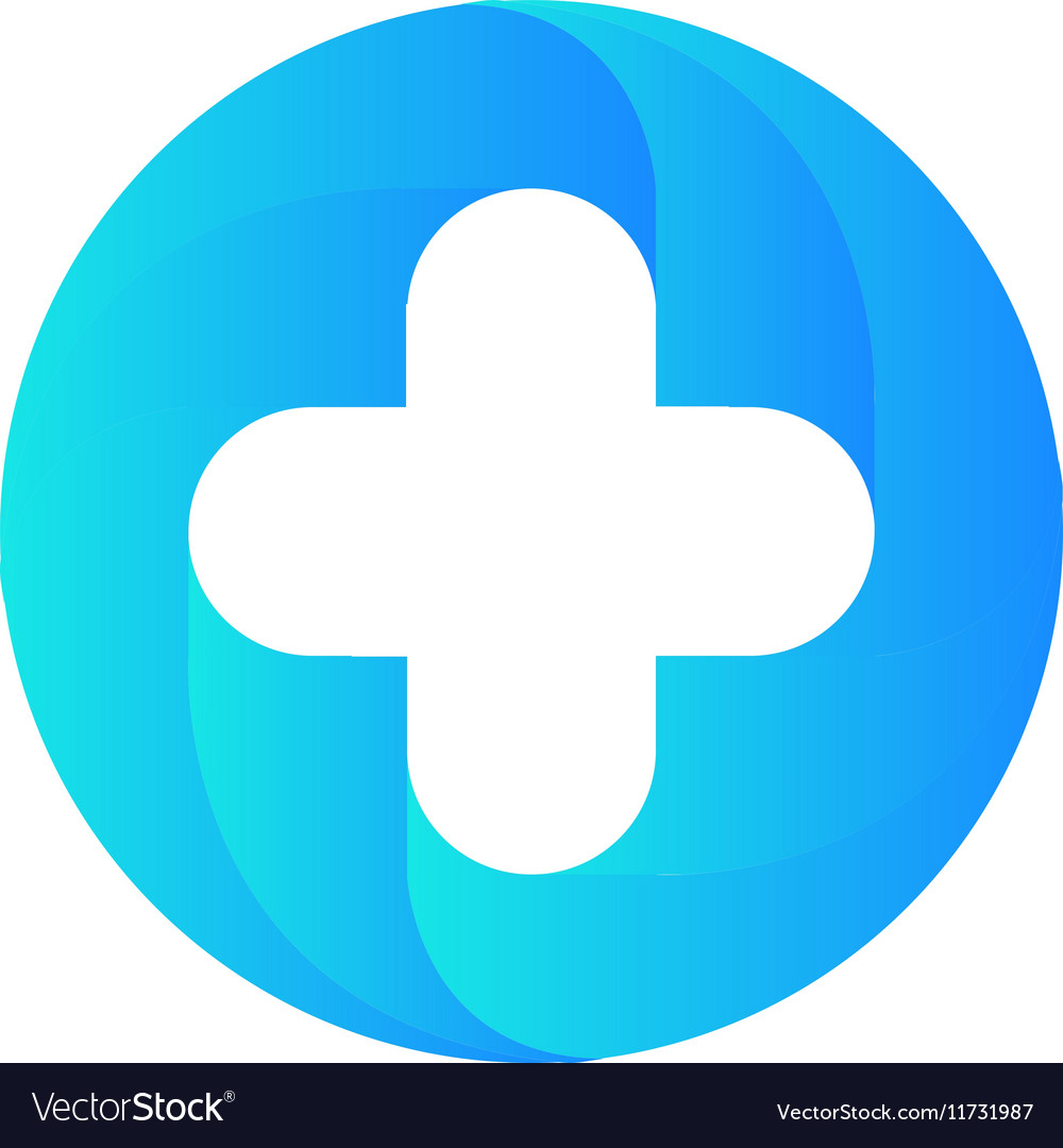 Blue medical cross logo Round shape vector image